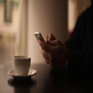 Phone coffee cafe latte Stock Footage