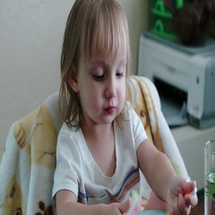Little two year old Toddler Girl Eating Noodles Stock Footage