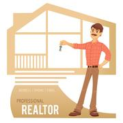 The concept of real estate services. Agent showing a house. Character male with Stock Illustration