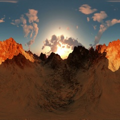 Panorama of canyon timelapse at sunset. made with the one VR 360 degree lense Stock Footage