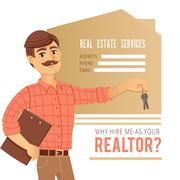 The concept of real estate services. Agent showing a house. Character man Stock Illustration