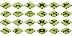 Constructor roads in isometric view Stock Illustration