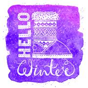 Hello winter lettering text Brush and boots on watercolor background. Seasonal Stock Illustration