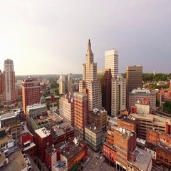 Aerial 4K Downtown Providence, Rhode Island Stock Footage