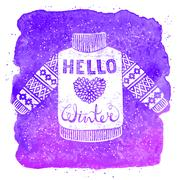 Hello winter text and knitted wool pullover with a heart. Seasonal shopping Stock Illustration