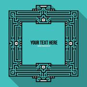 Pixel art text frame with traditional tribal and aztec elements Stock Illustration