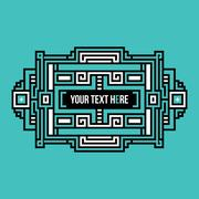 Pixel art text header with traditional tribal elements. Piirros