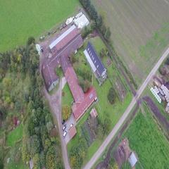 Furure - Organic Danish farm seen from above Stock Footage