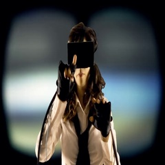 Virtual girl mu generic blurred bg Stock Footage
