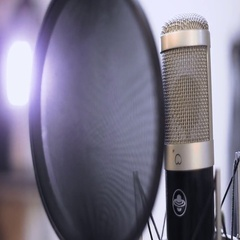 Studio microphone close-up. Recording studio. Music equipment. Music. Stock Footage