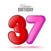 Birthday greeting card template with glossy thirty seven shaped balloon Stock Illustration