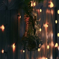 Christmas bells with electric garland around. Stock Footage
