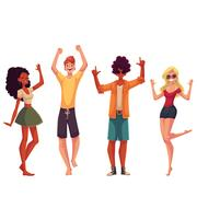Young people dancing on the beach Stock Illustration