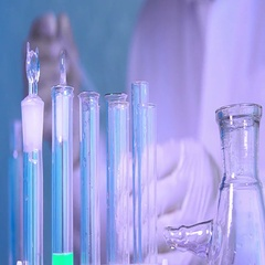 Laboratory Glassware with Color Liquid. Experiments in Medical Center. Stock Footage