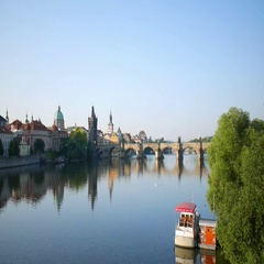 Charles bridge and Vltava river at early morning in Prague Stock Footage