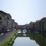 Timelapse with Arno River and Ponte Vecchio bridge in Florence, Italy Stock Footage