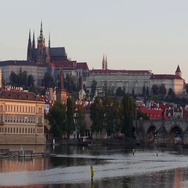 Panoramic view of the St. Vitus Cathedral in Prazsky Hrad Prague Castle and Stock Footage