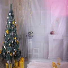 Christmas background. Room decorated for New year, Christmas celebration. No Stock Footage