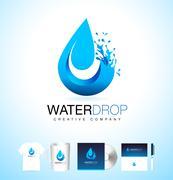 Waterdrop Logo with Splash Stock Illustration