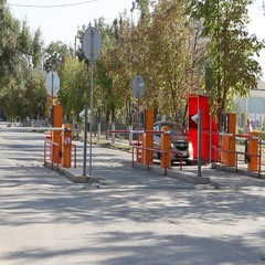 Automatic security barrier at parking in International Airport Volgograd. Stock Footage
