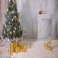 New year, Christmas, presents, fireplace in living room. Nobody, no people. New Stock Footage