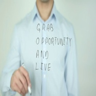 GOAL, Grab Opportunity And Live, Writing On Transparent Screen Stock Footage