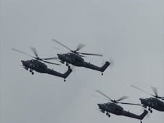 Russian military helicopters Stock Footage