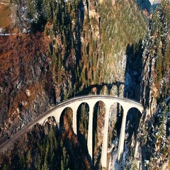 Beautiful Viaduct in Switzerland, aerial view Stock Footage