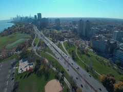 Lake Shore Drive and the Chicago Skyline  aerial Stock Footage