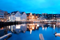 Tromso night tilted city background Stock Photos