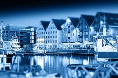 Night Tromso tilted postcard background Stock Photos