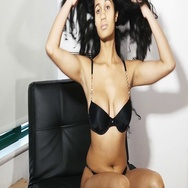 Sexy black lingerie girl with long hair feeling positive Stock Footage