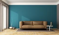 Blue contemporary living room Stock Illustration