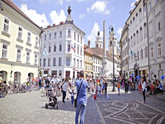Ljubljana city center in front Town Hall crowded with tourists 4K Stock Footage