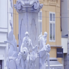 Robba Fountain with statues close up 4K Stock Footage