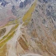 Mountain peaks and pass Shymbulak, Almaty, Kazakhstan Stock Footage