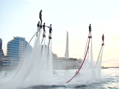 Flyboarding festival on the city's waterfront Stock Footage
