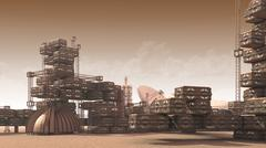 Scientific settlement on an arid red planet Stock Illustration
