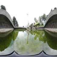 360VR video at Wenwu Temple, view from inside pond Stock Footage