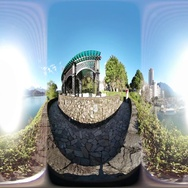 360VR video at the riverside of Meihe Park at sunset Stock Footage