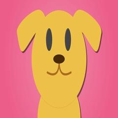 Cute cartoon style golden labrador pink loop Stock Footage