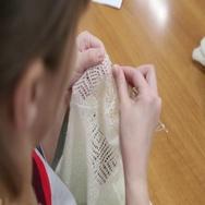 Production of goat down shawl, shawl, Orenburg shawl Stock Footage