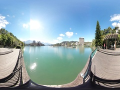 360VR video at the riverside of Xiangshan bikeway Stock Footage