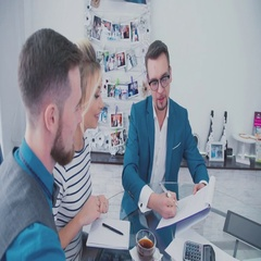 The concept of management meetings with clients. sales manager Stock Footage