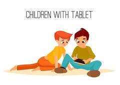 Children girls of different ages played in tablet. gadget addiction Stock Illustration