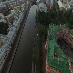 4k aerial shot of Saint-Petersburg with view on Fontanka river and Michaels Stock Footage