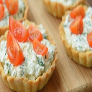 Tartlet with feta and veggies for lunch Stock Footage