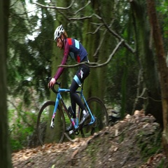 Young man cross-country cycling between trees in a forest, shot on R3D Stock Footage