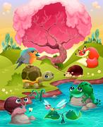 Animal Pond Scene Stock Illustration