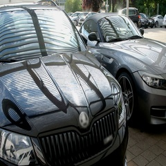 Sun protection system for two cars Stock Footage